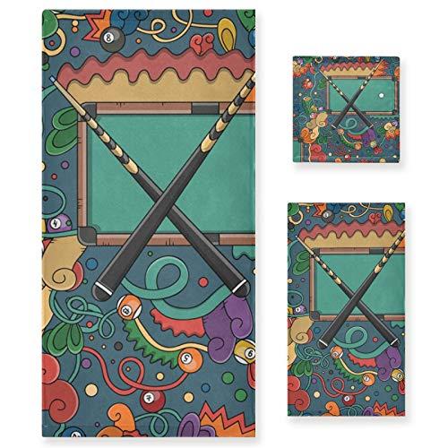 3 Stück Baumwolle Luxus Badetücher Set für Frauen Männer Bad Küche 1 Badetuch 1 Handtücher 1 Waschlappen-Billardtisch und Snooker