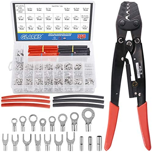 Glarks HS 8 Ratchet Non Insulated Terminal Crimping Tool 1 25 8 mm with 330Pcs Non Insulated product image