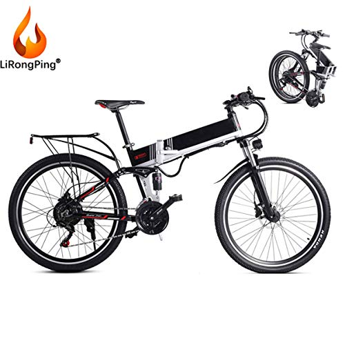 LiRongPing Folding Electric Mountain Bike for Adult,350W Motor,Lightweight Electric Bicycle for Work Outdoor Cycling Travel Commute