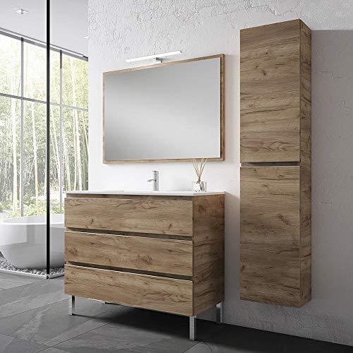 KullDesign Conjunto Mueble de baño 80 cm. con Lavabo y Espejo