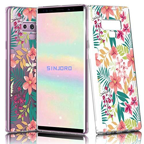 Sinjoro Funda Galaxy Note 9, Floral Flor Flower Transparente Diseño Cubierta Goma Bumper Cover, Cristal Clear para Samsung Galaxy Note 9 (Flamingo)