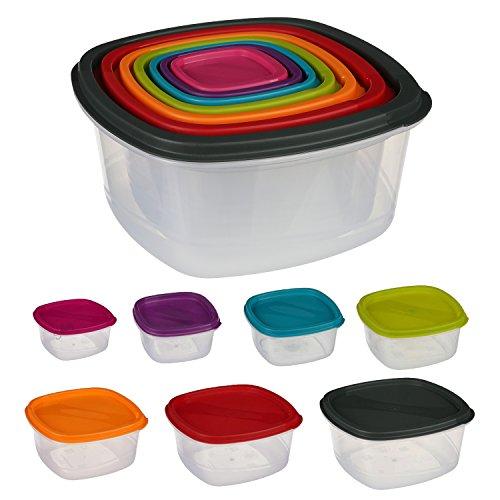Silley 7 Boites Alimentaires Lot de 7 Boites en Plastique Emboitables + Couvercles - Boîtes de Conservation Carrées - pour Lave Vaisselle, Four à Micro-Ondes et Congélateur