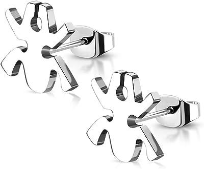 Tata Gisèle - Orecchini in acciaio inossidabile argentato, motivo: rana