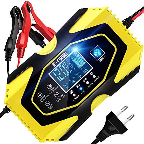 YDBAO Caricabatterie da Auto Moto 6A 12V/24V per Litio/Acido al Piombo/LiFePO4 Carica Batteria per Auto Moto Intelligente caricabatteria Auto Moto con Schermo LCD