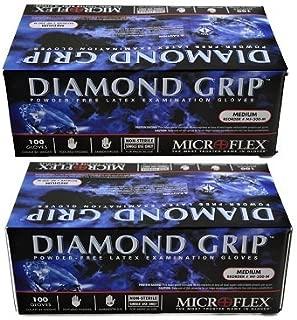 Microflex MF300M (2 Pack) Diamond Grip Latex Gloves, Size Medium, Pack of 200 Gloves