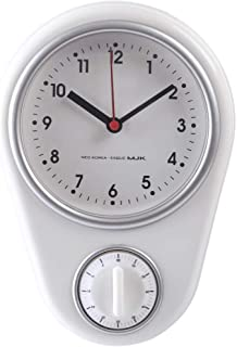 RuiyiF Silent Wall Clock with Timer for Kitchen Bedroom Small Clock Battery Operated Retro