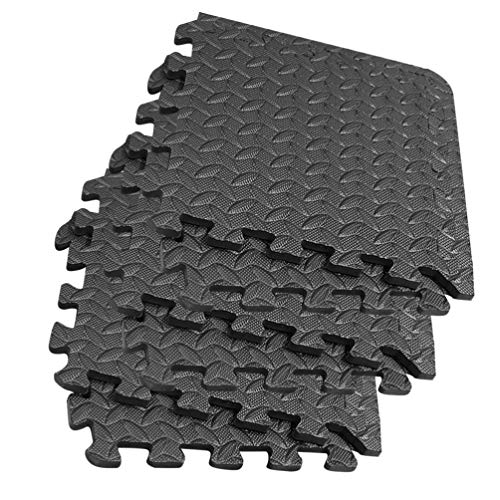 Garneck - 8 piezas puzle alfombra de ejercicio de espuma para interlocking, baldosas, gimnasio, alfombra de suelo, alfombra interlocking, espuma, cojín para sesiones de entrenamiento, color negro