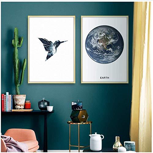 XingChen Impresiones de imágenes 2x60x80cm sin Marco Sea Wave Earth Cita Motivacional Poster Estilo nórdico Imprimir imágenes Decorativas para la decoración de la Sala de Estar