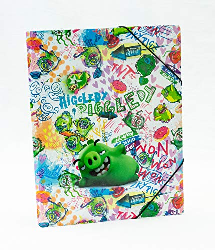Angry Birds Sammelmappe DIN A3 - Gummizugmappe für Kinder, stabil, Innenklappen, Malmappe Eckspanner Ordnungsmappe Schule, Bad Piggies 55ro16066