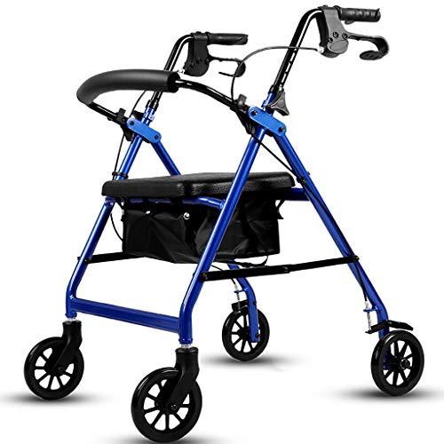 HTL Gehhilfe Medical Instruments Old Man Driving-Auto-Licht-Aluminiumlegierung Vier-Wheeler Trolley drückbaren Can Sit Gefaltete Walker Elderly Warenkorb Größe: 71cm x 52cm x 77-94Cm Walker,Blau