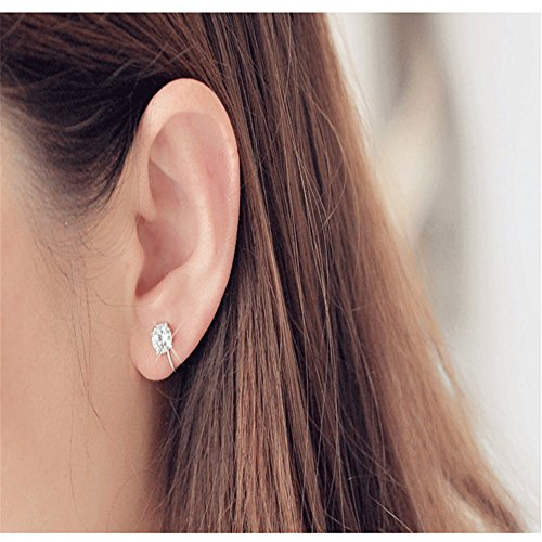 Qinlee zircone morsetto orecchio senza orecchini clip semplice orecchini moda regalo bankette Party Gioielli per Donna Ragazza, lega, 3mm, 3 mm