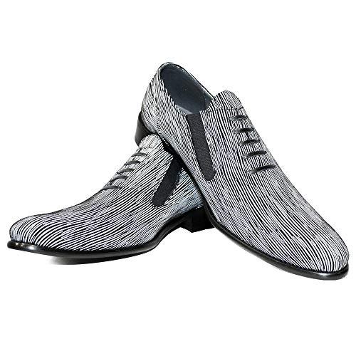 PeppeShoes Modello Naber - EU 43 - US 10 - UK 9-28 cm - Handgemachtes Italienisch Bunte Herrenschuhe Lederschuhe Herren Weiß Mokassins Müßiggänger und Slip-Ons - Rindsleder Weiches Leder - Schlüpfen
