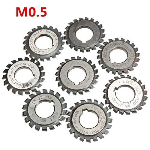 WSF-TOOLS, Module 0.5 M0.5 PA20 Degrees Bore 16mm #1-8 HSS Involute Gear Milling Cutter High Speed Steel Milling Cutter Gear Cutting Tools (Cutting Edge Diameter : 8)