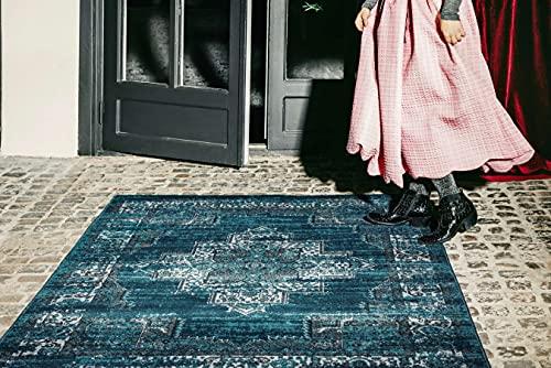 RugVista Teppich Vintage Vega, Kurzflor, 200 x 300 cm, Rechteckig, Modern, Öko-Tex Standard 100, Polyester, Schlafzimmer, Wohnzimmer, Petrol/Türkis