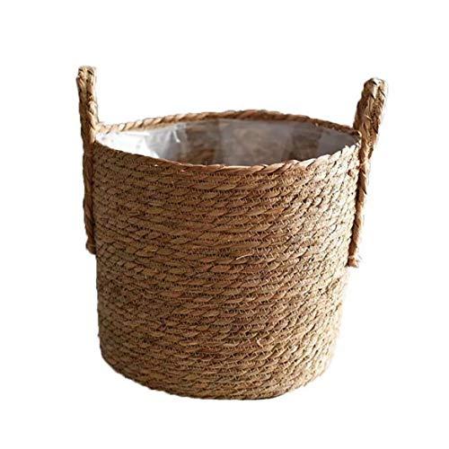 Hechos a Mano De Paja De Almacenamiento De Tejido De Cesta De Mimbre Rattan Planter Basket Maceta Contenedor De Almacenamiento para La Decoración De La Boda del Jardín Tamaño 30cm