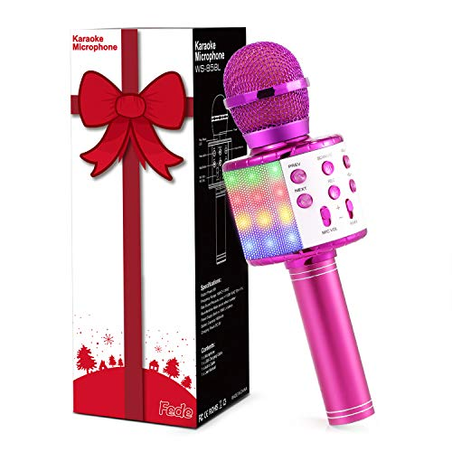 Fede Wireless Bluetooth Karaoke Microphone, Portable Handheld Karaoke Mic Speaker Machine with LED Lights, Christmas Gifts for Kids, Toys for 7 8 9 10 11 12 year old Girls and Boys(Pink)