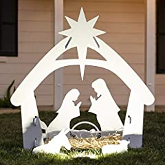 BEAUTIFUL SILHOUETTE: Perfect in the front lawn or backyard, this subtle yet gorgeous outdoor addition has a north star above the silhouette for symbolic decor CELEBRATE CHRISTMAS: A welcoming reminder of the true meaning of Christmas, displaying Jos...