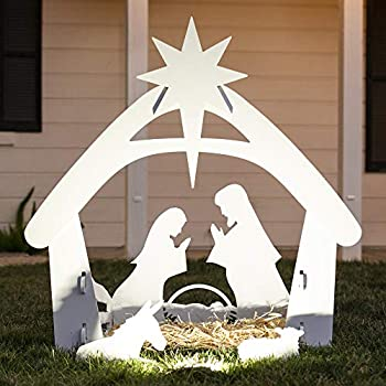 Best Choice Products 4ft Christmas Holy Family Nativity Scene Outdoor Yard Decoration w/Water-Resistant PVC
