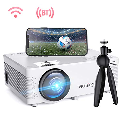 "VicTsing Mini WiFi Projector-4200L Wireless Bluetooth Projector with Tripod, 1080P 170"" Display Supported, Compatible with TV Stick, PS4, DVD, Portable Protector for Home Entertainment (White)"