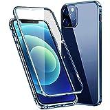 Funda para iPhone 12 Pro Max magnética, 360 grados, carcasa completa antigolpes [con protección para objetivo de la cámara] trasera y delantera transparente, cristal templado, antiarañazos, color azul