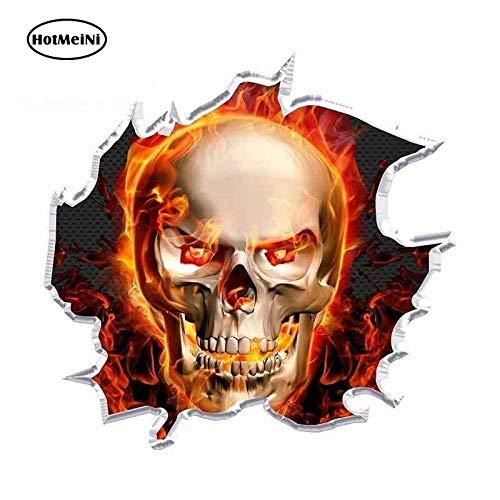 13cm X 12,5 cm Voor Ripped Flaming Skull Race Auto Stickers Stickers Geschikt voor Van Occlusion Scratch Graffiti Sticker