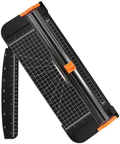 flintronic Cortadora de Papel A4, Guillotina de Papel Automático de Seguridad Salvaguardar, Corte de Rejilla y Ángulo, con Regla de Extension, para Cupón Craft Etiqueta de Papel o Foto(Negro, 38cm)