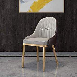 Chairlxy PU sillas de Comedor, sillas tapizadas sillas de Metal Silla de Oficina Modernas, con Las piernas del Metal para la Cocina, Comedor, Dormitorio, Sala de Estar,Gris