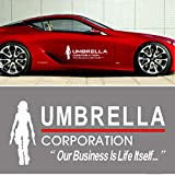 YSpring 19.77.5in Resident Evil Alice Decal Car Umbrella Corporation Vinyl Sticker for Car Body Door Window Decoration (Style G-White-1 pcs)