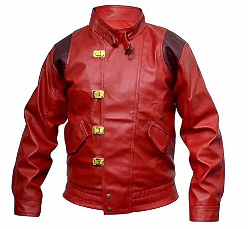 Classyak Akira Kaneda - Chaqueta de Piel para Hombre, Color Rojo