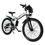 AMDirect Bicicleta de Montaña Eléctrica Bici Plegable Ebike con Rueda de 26 Pulgadas Batería de Litio de Gran Capacidad 36V 250W 21 Velocidades Suspensión Completa Premium y Engranaje Shimano (Blanco)