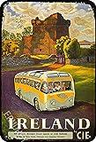ERMUHEY Cartel retro de The Funny Ireland by CIE Irlanda Reino Unido Tour Bus Vintage Decoración de pared Casa Jardín Oficina Bar Club Moda Decoración de Pared Hombre Cueva Cartel de lata 30 x 20 cm