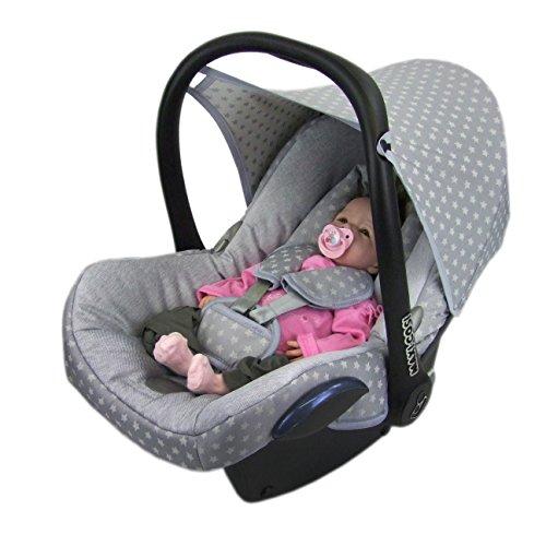 BAMBINIWELT Ersatzbezug für Maxi-Cosi CabrioFix 6-tlg, Bezug für Babyschale, Komplett-Set STERNE HELLGRAU XX