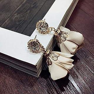 Earrings Fashion Geometric Round Cloth Flowers Crystal Earrings for Women(Black) Earrings (Color : Beige)