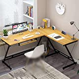 -Shaped Corner Computer Desk, Large L Shape Office Wooden Table Corner Desk Home Office L Desk Corner Workstation For Gaming Study With Keyboard Tray Waterproof And Easy To Scrub Wear-Resistant Good