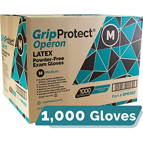 GripProtect Operon Latex Exam Gloves, Disposable, Textured, Medical, Automotive, Janitorial, Home (1000/Cs) (Medium)