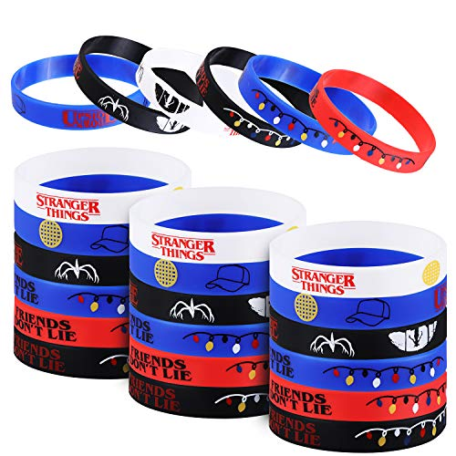STRANGER THINGS Party Favor, 24Pcs Stranger Themed Party Silicone Rubber Bracelet Wristbands Ideal for ST Birthday Party Supplies