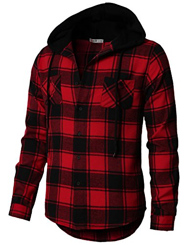 H2H Mens Casual Button Down Long Sleeve Plaid Shirts Hoodie Jacket RED US 3XL/Asia 4XL (CMOJA0105)