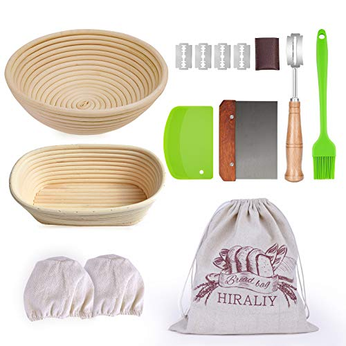 HIRALIY 9 Inch Round & 10 Inch Oval Bread Proofing Basket Set Of 2, Natural Rattan bread banneton proofing with Bread Lame + Dough Scraper + Linen Liner + Basting Brush for Bread Making Tools