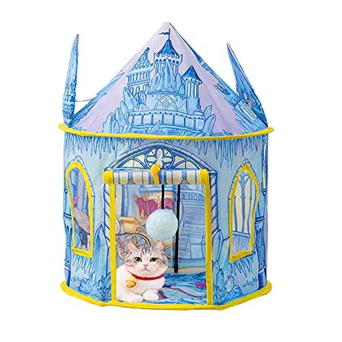 BeneBomo 猫用おもちゃ ペットのおもちゃ ねこテント ネコベッド 折り畳み式 ネコテント 猫用ハウス ペット用テント 猫の巣 ネコオモチャ 猫のてんと キャットテント キャリーバッグ付き 設置簡単 軽量 (ブルー)