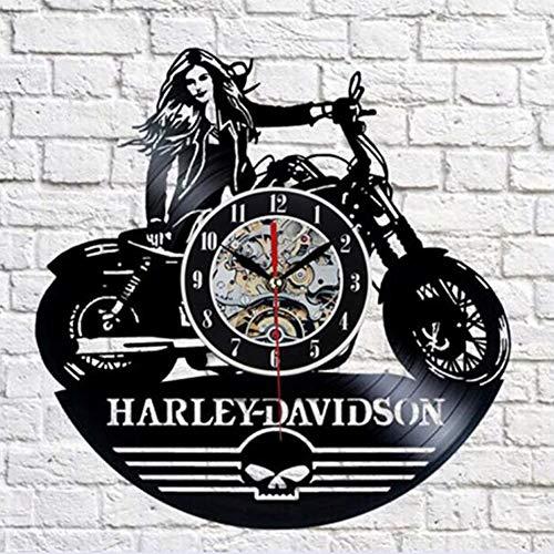 YUN Clock@ Harley Motorrad Wanduhr aus Vinyl Schallplattenuhr Upcycling 3D Design-Uhr Wand-Deko Vintage Familien Zimmer Dekoration Kunst Geschenk, Durchmesser 30 cm