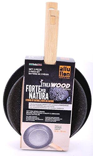 ALLUFLON Etnea Wood Edition Set da 2 Padelle, Alluminio, Nero, 24 - 28 cm