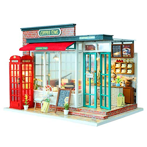 LIUCHANG Miniatur-Puppenhaus mit Möbeln, DIY Holz-Puppenhaus-Musik-Box, 1:24 Skala Kaffee-Puppenhaus Modell versammelte Hütte for Kinder Weihnachten/Neujahr/Birtah-Geschenke liuchang20