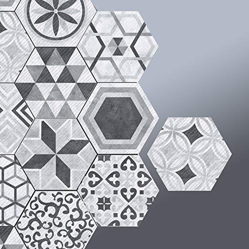 Prior.choice - Adhesivo para Azulejos (10 Unidades), diseño Hexagonal marroquí, Color Gris