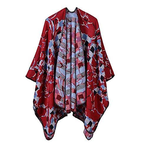 GNLIAN HUAHUA Schals Warm Herbst und Winter Schal, Kopftuch-Schal-Schal Lätzchen Schal-Mantel Frauen-Mosaik-Muster Imitation Kaschmir-Schal Reversible Tragbarer Umhang