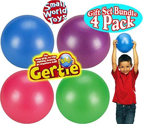 Small World Toys Original Gertie Ball Blue, Pink, Purple & Green Gift Set Bundle - 4 Pack