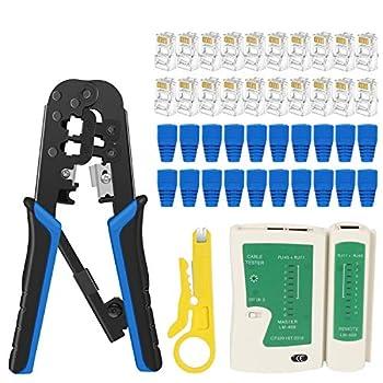 RJ45 Crimping Tool Kit Ethernet Crimp Tool Set RJ-11 6P/RJ-12 8P/RJ-45 Crimp Cut and Strip Tool with 20PCS RJ45 CAT5 CAT5e Connectors 20PCS Covers,1 Network Cable Tester and 1 Wire Stripper