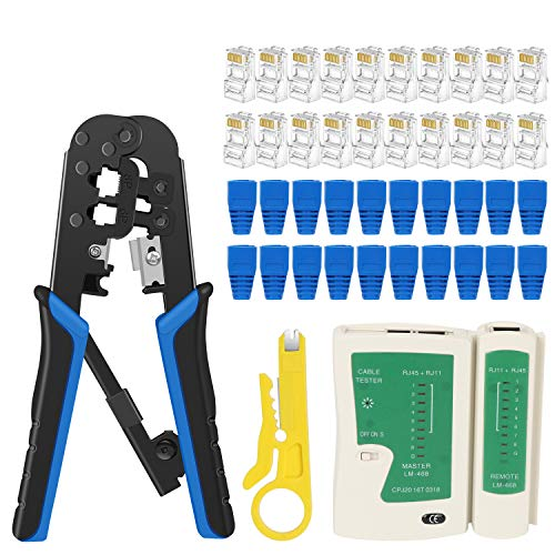 RJ45 Crimp Tool Kit Cat5 Cat5e Ethernet Crimping Tool, RJ-11, 6P/RJ-12, 8P/RJ-45 Crimp, Cut and Strip Tool with 20PCS RJ45 Connectors, 20PCS Covers,1 Network Cable Tester and 1 Wire Stripper