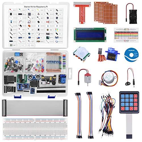 kuman Ultimate Starter Kit für Raspberry Pi 4 B 3B+, Gelötete LCD I2C 1602 Python C Java, 223 Elemente, 57 Projekte, Lernen Sie Elektronik und Programmierung, Lötfreies Steckbrett und viel Zubehör