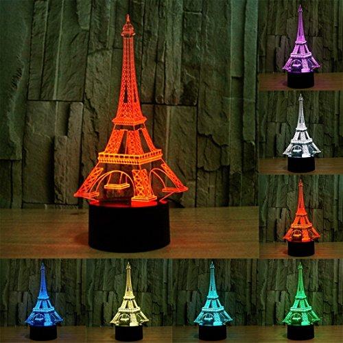 L-sister Tamaño del Producto: 25.0 x 12.2 x 8,7 CM, Torre Eiffel Estilo USB Carga 7 Color Decoloración Creativa Lámpara estéreo óptica 3D Control de Interruptor táctil LED Lámpara de escr