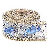 ViaGasaFamido Rollo de Cintas de Envoltura de 2,5 cm, Diamantes de imitación simulados, decoración de Joyas, Adornos Brillantes de Cristal, Apliques, Accesorios de Vestir para Vestido de Novia(#06)